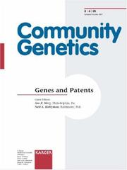 Cover of: Genes and Patents (Community Genetics) | J. F Merz
