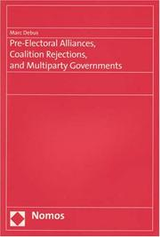 Cover of: Pre-electoral Alliances, Coalition Rejections, and Multiparty Governments | Marc Debus