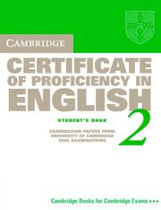 Cover of: Cambridge Certificate of Proficiency in English 2 Student's Book