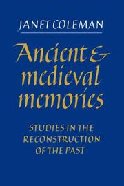 Cover of: Ancient and Medieval Memories | Janet Coleman