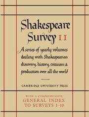 Cover of: Shakespeare Survey With Index 1-10 (Shakespeare Survey) | Allardyce Nicoll
