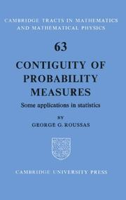 Cover of: Contiguity of probability measures: some applications in statistics