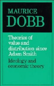 Cover of: Theories of value and distribution since Adam Smith