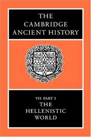 Cover of: The Cambridge Ancient History, Volume 7, Part 1 |