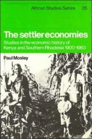 Cover of: The settler economies