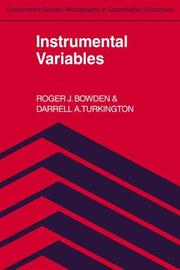 Cover of: Instrumental variables