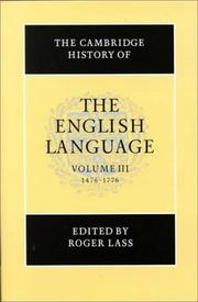 Cover of: The Cambridge History of the English Language, Vol. 3 | Roger Lass
