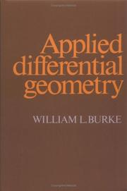 Cover of: Applied differential geometry | William L. Burke