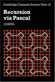 Cover of: Recursion via Pascal by J. S. Rohl