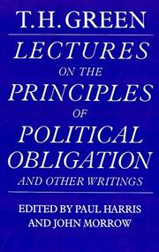 Cover of: Lectures on the Principles of Political Obligation and Other Writings