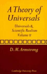 Cover of: A Theory of Universals by D. M. Armstrong