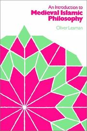 Cover of: An introduction to medieval Islamic philosophy | Oliver Leaman