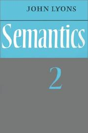 Cover of: Semantics | Lyons, John