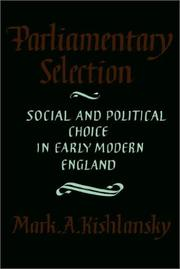 Cover of: Parliamentary selection