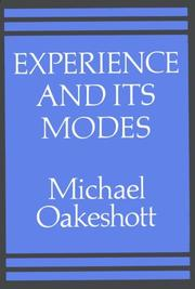 Cover of: Experience and its modes