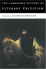 Cover of: The Cambridge History of Literary Criticism, Vol. 1