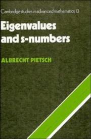 Cover of: Eigenvalues and s-numbers