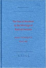 Cover of: The Text of Matthew in the Writings of Basil of Caesarea (New Testament in the Greek Fathers, No. 5.)
