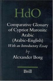 Cover of: A Comparative Glossary of Cypriot Maronite Arabic