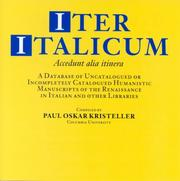 Cover of: Iter Italicum: a Finding List of Uncatalogued or Incompletely Catalogued Humanistic Mss Cd-rom