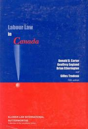 Cover of: Labour Law in Canada | Donald Carter