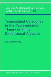 Triangulated categories in the representation theory of finitedimensional algebras by Dieter Happel