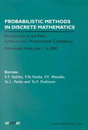 Cover of: Probabilistic methods in discrete mathematics | International Petrozavodsk Conference on Probabilistic Methods in Discrete Mathematics (5th 2000 Petrozavodsk, Russia)