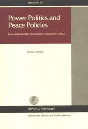 Cover of: Power politics and peace policies