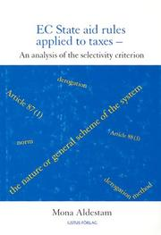 Cover of: Ec State Aid Rules Applied to Taxes | Mona Aldestam