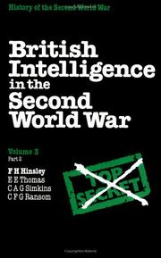 Cover of: British Intelligence in the Second World War | F. H. Hinsley