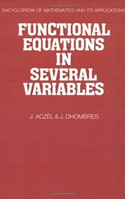 Cover of: Functional equations in several variables | J. AczeМЃl