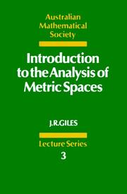 Cover of: Introduction to the analysis of metric spaces