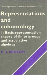 Cover of: Representations and cohomology