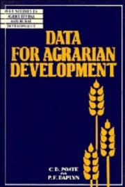 Cover of: Data for agrarian development | Derek Poate