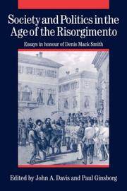 Cover of: Society and politics in the Age of the Risorgimento
