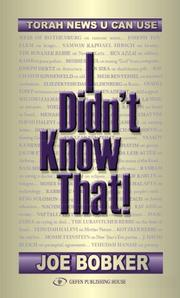 Cover of: I Didn t Know That; Torah News U Can Use