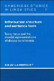 Cover of: Information structure and sentence form | Knud Lambrecht