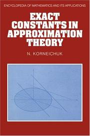 Cover of: Exact constants in approximation theory
