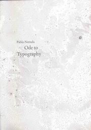 Cover of: Ode to typography | Pablo Neruda