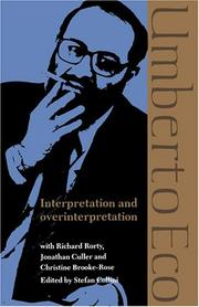Cover of: Interpretation and overinterpretation