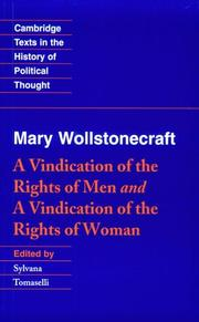 Cover of: A vindication of the rights of men ; with, A vindication of the rights of woman, and Hints