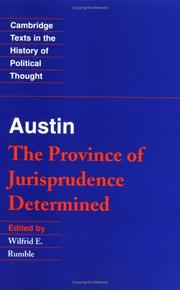 Cover of: The province of jurisprudence determined | Austin, John