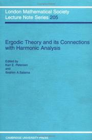 Cover of: Ergodic theory and its connection with harmonic analysis