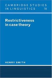 Cover of: Restrictiveness in case theory