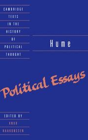 Cover of: Political essays: edited, with an introd.