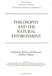 Cover of: Philosophy and the natural environment