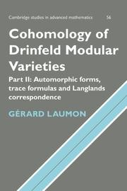 Cover of: Cohomology of Drinfeld modular varieties