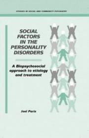 Cover of: Social factors in the personality disorders