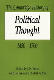 Cover of: The Cambridge History of Political Thought 14501700 | Mark Goldie