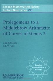 Cover of: Prolegomena to a middlebrow arithmetic of curves of genus 2